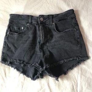 H&M black distressed jean shorts, size 6